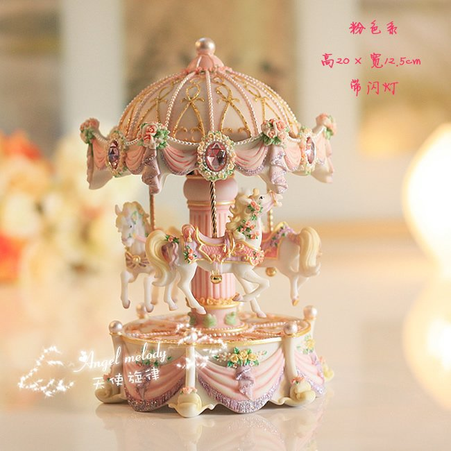 Pink color FREE shipping HOT sale music box with LED Lighting, whirligig, merry-go-round, wonderful gift(China (Mainland))