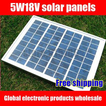 Free shipping Polycrystalline silicon solar panels / solar panel / 5W18V solar charging accessory / Epoxy board / solar module