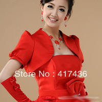 Free shipping bridal wraps Wedding Women Dresses of Satin Puff short Sleeve Cape Fashion 2013 Bolero red beige party jackets
