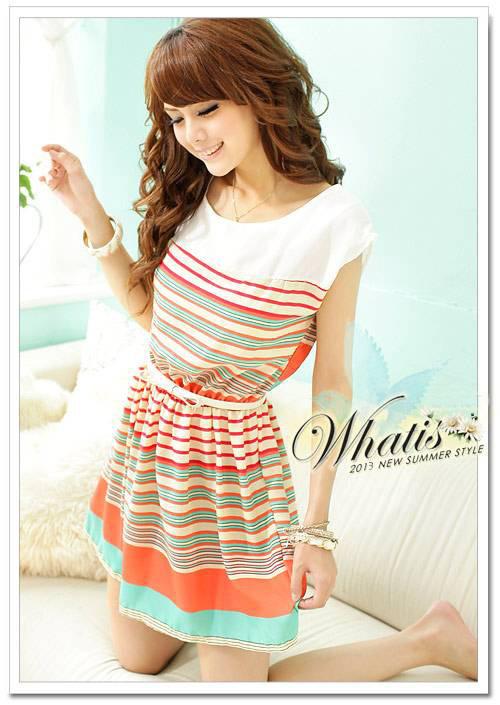 [Unbeatable At $X.99] 2014 summer New Fashion Colorful Stripes orange Chiffon Mini Dress Women's Dresses(China (Mainland))