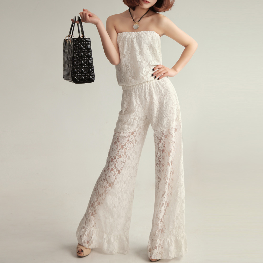 2013 Fashion White,Black Lace Summer slim top pants sexy maxi trousers off shoulder lady rompers women jumpsuit the overalls(China (Mainland))