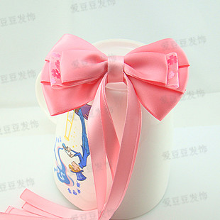 Hair accessory pure pink bandeaus big bow hairpin headband spring clip hair accessory hair accessory(China (Mainland))