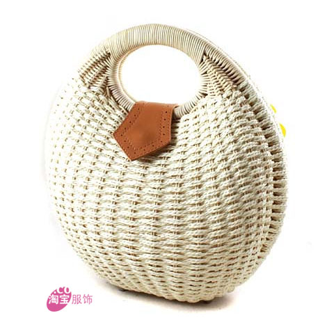 Straw bag rattan bag handbag rattan bag vivi magazine new arrival shell bag(China (Mainland))