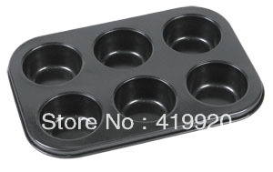 Free Shipping! 6 Cup Muffin Pan Non-Stick Coating Xyflon IH-00049