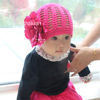2013spring and autumn baby girl's hat close skin exclusive sales  won't be produced hat with a big sequins flowers rose-red hat