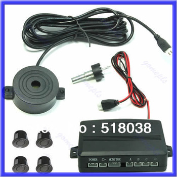 Free shipping 2012 New Car 4 Parking Sensors Reverse Backup Buzzer Beeper Alarm Security Black