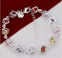 Unique personality charm fashion hot-selling 925 silver wholesale color stone checkered bracelet H220