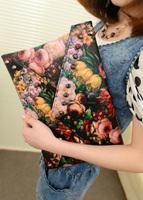 2013 spring oil painting flower women's rivet handbag bag rose day clutch envelope bag messenger bag