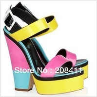 HOT NOW!!!!!! 2013 New Arrival Brand Giu Zan Designer 17cm colorful square heel pumps wedge high heel