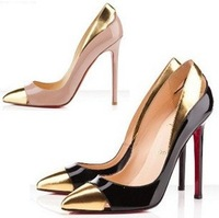 Drop shipping  2013 new summer women golden  pointed  high heels shoes red bottom high heels sex plat 10 cm Platform Pumps G24
