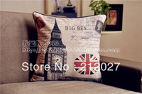 Free Shipping French Country Retro Vintage Big Ben Cotton Linen Decoratvie Cushion Cover Pillow Cover 45CM X45CM