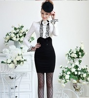 2013  free shipping  new elastic double breasted High Waist  Sex Slim Skirt  Black  SML  MZ12032913
