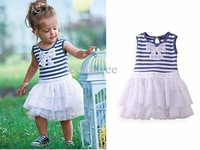 children's tutu baby girl dress kids wear kids clothing with bow Children striped dresses princess navyblue brown white