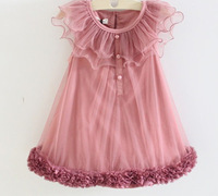 2013 children&#39;s princess dress girls vest fully thin cotton lace flowers bitter fleabane gauze plate dress ,freeshipping/y145