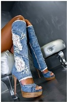 Denim lace Cut-outs women cool wood heel  boots knee-high women summer boots free shipping