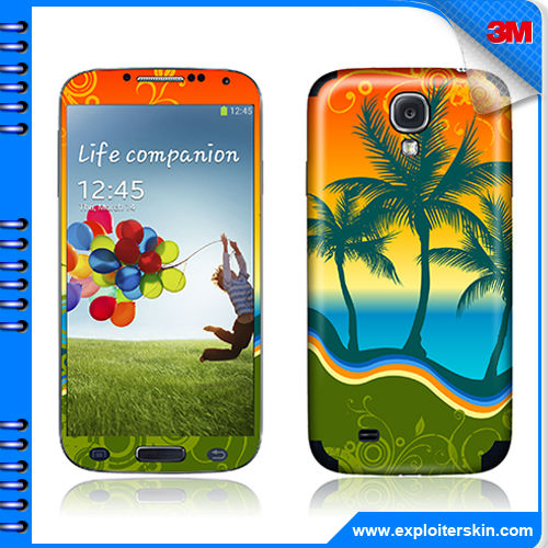EMS free 50pcs/lot USA 3M material Tropical landscape image S4 cell phone vinyl decal For Samsung Galaxy I9500 DIY skin sticker(China (Mainland))