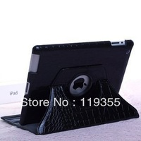 Free Shipping Black 360-degree Rotating Stand Leather Case Cover For 9.7 Inch iPad 3 / 2 Tablets