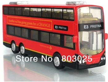 Free Shipping Novelty WARRIOR Alloy Pull Back Car Model Large Acoustooptical Lundon Double-deck Bus, 3Types For Choice