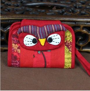 Southland ancient rhyme originality ethnic jewelry Coin purses a portable card package owl style(China (Mainland))