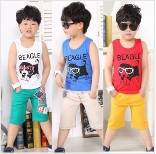 Hot selling 2013Fashion Summer Boy's sleeveless Glass printed T-shirt Pure Cotton Vest Size100-140 Free shipping 5pcs A LOT