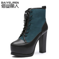 Fashion vintage coarse high-heeled boots martin boots platform boots platform women's shoes boots