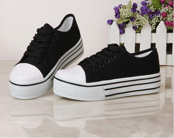 summer selling low platform shoes paltform shoes black