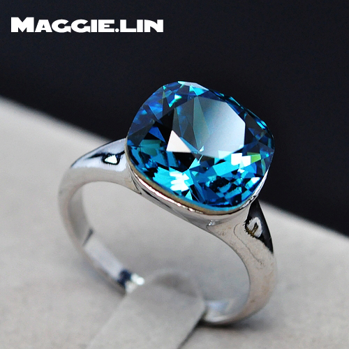 Aquamarine blue crystal jewelry gifts jewelry crystal ring fashion(China (Mainland))