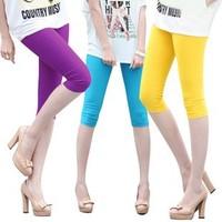 Hot new summer ice silk female models sevenths Slim was thin pants Leggings