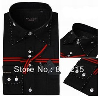 hot selling men brand design slim fit black shirts S-4XL