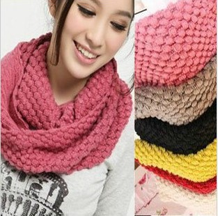 Wholesale retail Free Shipping winter solid color scarf winter knitted collar wool yarn Candy color muffler scarf lovers scarf
