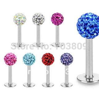 Free shipping,wholesales 20pcs mix 6 colos body piercing jewelry disco ball CZ crystal lip piercing labret bar labret ring(China (Mainland))