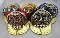 New arrivel Fashion cool Gothic rivet caprhinestone hip hop hats leapord baseball cap punk hat spike hats free shipping