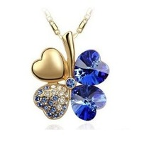 10 COLORS HIGH QUALITY!!  Wholesale Fashion Gold Four Leaf Clover Austria Crystal Pendants Necklace Free shipping JCK-240