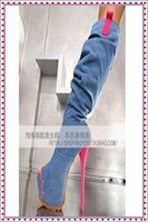 Hot selling  peep toe   patchwork jean  high heel cool boots  free shipping