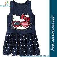 (5pcs/lot)Summer baby girls dresses cartoon cat tank dresses baby casual cotton kitty dress Free shipping