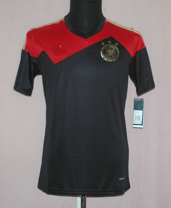2014 Mario Gotze Germany Thailand T Shirt Soccer jersey Kits Brand Logo Away Black T Shirt Thai Sports Wear Custom Muller Ozil(China (Mainland))