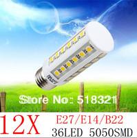 12X Super brightness 10W E27 E14 B22 E26 36 LED SMD5050 Screw Corn Light 360degree lighting angle led bulb