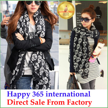 Fashion Girl Free shipping Christmas Gift Cool Big Skull Head Skeleton Cotton Fashion Womens Soft Wrap Stole Long Scarf Shawl