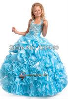 Best Selling Halter Blue Taffeta Ball Gown Custom-made Girls Pageant Dress Free Shipping