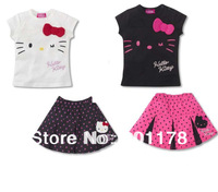 wholesale5sets/lot 2 color clothing T-shirt+skirt children girl's clothing suit free shipping 243