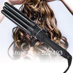 Free Shipping Factory Price Three Barrel Ceramic Stainless Steel Hair Jumbo Waver Styler Curling Irons Electric curling iron(China (Mainland))