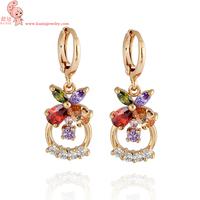 Free shipping new design Multicolor 18k gold & AAA swiss diamond & 18k gold plated female drop earrings jewelrykuniu ER0385