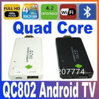 Mini Pc QC802 Quad Core RK3188 Cortex-A9 Bluetooth Wifi Android TV Box 4.2 DDR3 2GB/8GB Support Flash 11 HMDI XBMC FreeShipping
