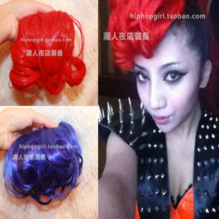 2ne1 wig piece female singer ds costume vintage style multicolour curly bangs(China (Mainland))