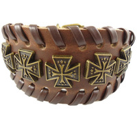 2013 trendy punk religious charms cross braided wide belt buckle vintage leather chain cuff unisex mens bracelet jewelry 0007