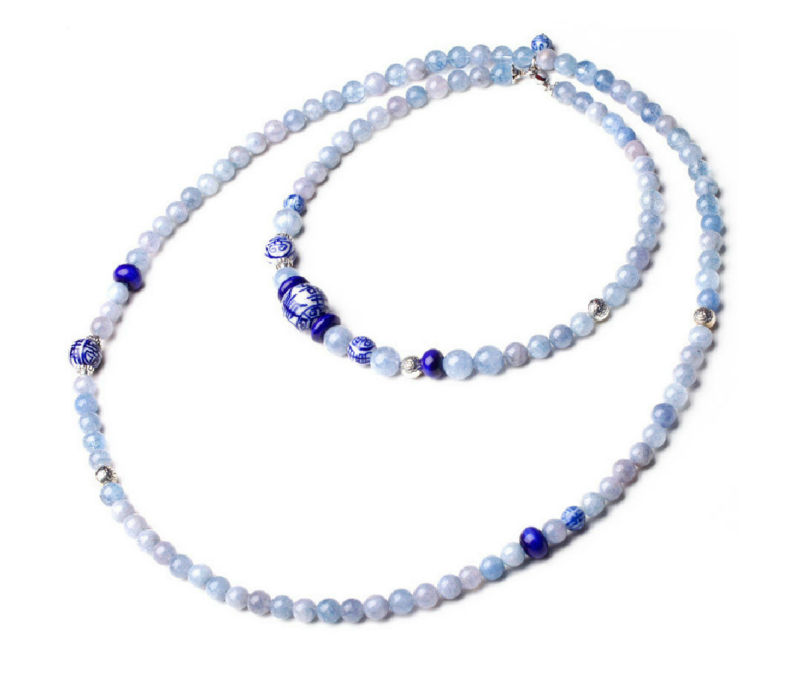 Pure handmade Necklace(Bracelets)/ China National Sapphire sea multilayer Long Necklace/Blue and white porcelain beads(China (Mainland))