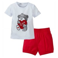 2013 new 5sets/lot Baby girls boys Suit kids clothing set Bear t-shirt + short Pants summer 2pcs suits free shipping