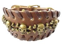 2013 trendy handmade hip hop punk skull charms braided wide belt buckle vintage leather chain cuff unisex mens bracelet jewelry