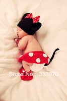 100% Pure Handmade Crochet Cute Knitted hat Newborn Baby Photography Props Mickey mouse Costume 4 Pieces(hat+skirt+shorts+shoes)