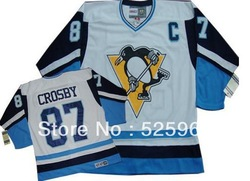 Cheap brand ice hockey jerseys! Authentic Men's Vintage Pittsburgh Penguins #87 Sidney Crosby White Blue CCM Throwback Jersey(China (Mainland))